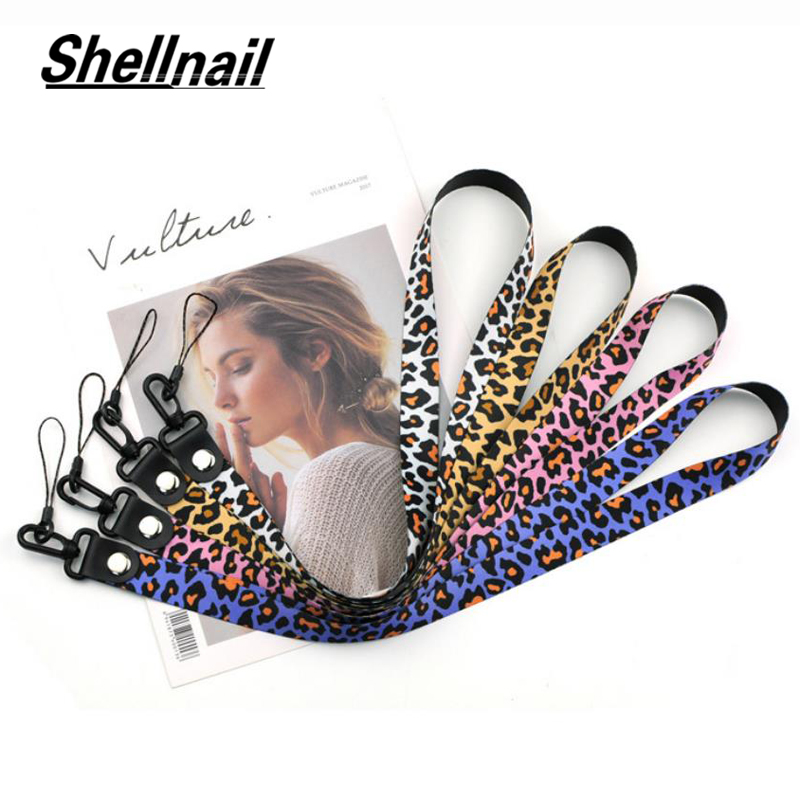 SHELLNAIL Leopard Phone Straps Lanyard For Cheetah ID Card Keychain Phone Neck Straps Keyring Smartphone Neck Wrist Lanyards