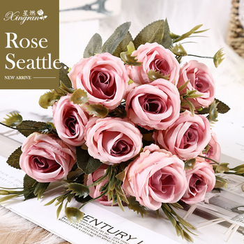 New Style Silk Flower Artificial Rose Imitation Flowers Seattle Rose Wedding Boquet Holder Beam 6 Flower a Bunch image