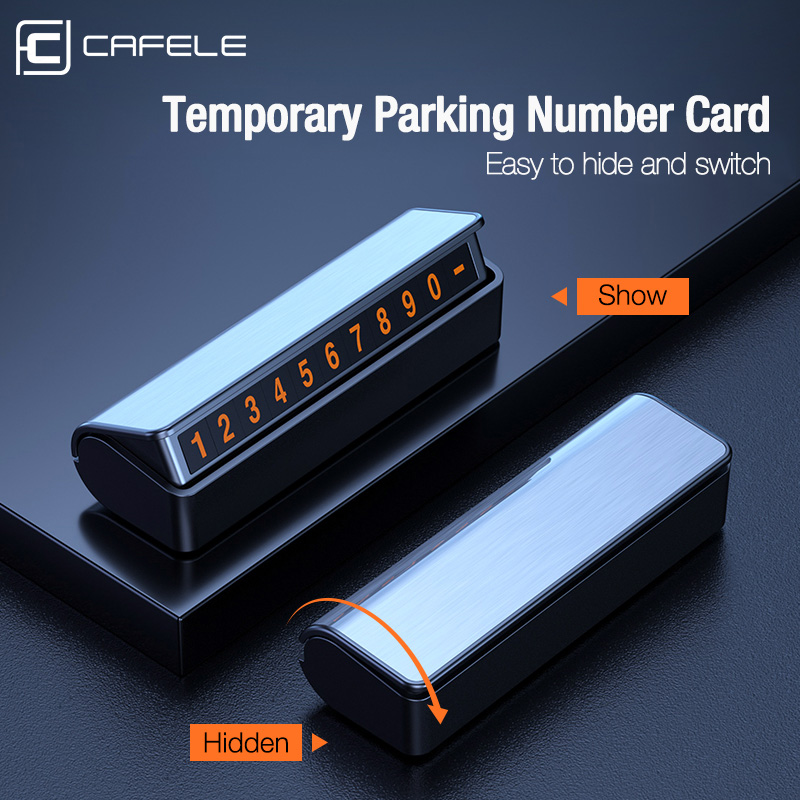 Cafele Car Temporary Parking Card Night Luminous Magnetic Telephone Number Card Mobile Phone Hide Parking Card Plate Automobile