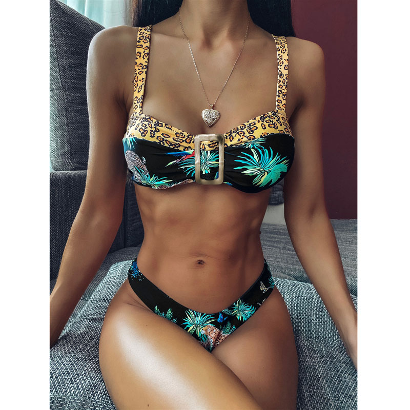 Micro Bikinis 2020 Sexy Bikini Set Floral Bathing Suit Thong Bottom Biquini Bandeau Swimsuit Female Swimwear Swimming Beachwear