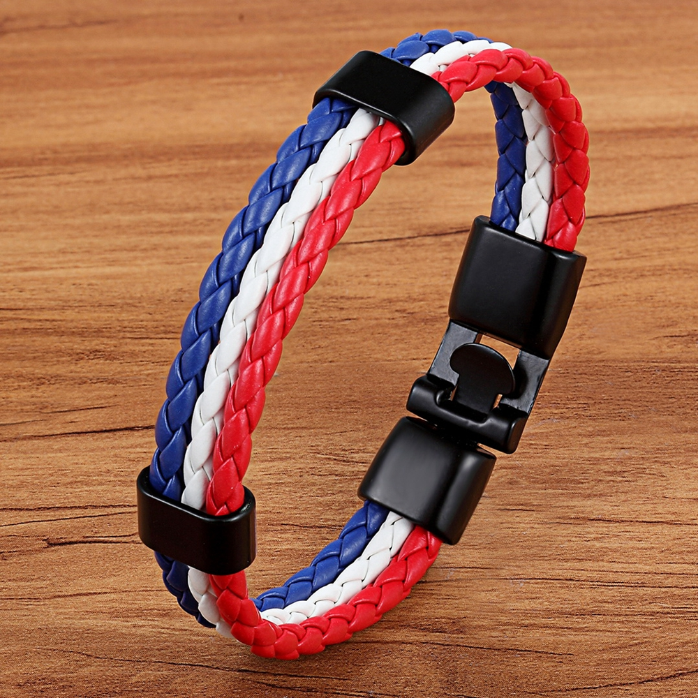 Representative Meaning National Flag Design Pattern PU Leather Men Stainless Steel Bracelet Colorful Selection For Huge Discount