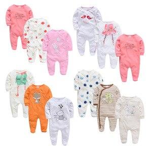 Image 1 - 2020 新年春長袖ソフト服のための 3 個コットンロンパース新生児男の子 0 12 メートル衣装パジャマ