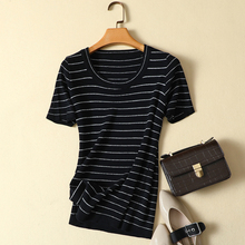 2020 summer new knitted striped women t-shirts o-neck short-sleeved slim elastic office lady elegant