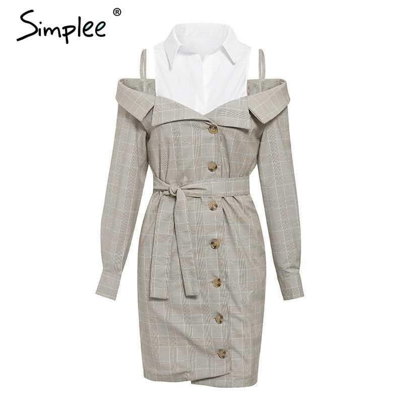 Simplee  Элегантное женское  платье в клетку с длинным рукавом  на пуговицах Осень-зима платье