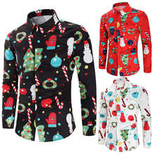Mens Dress Chemise Button-Up Christmas-Print White Suit Prom-Blouse Party Black Top Red