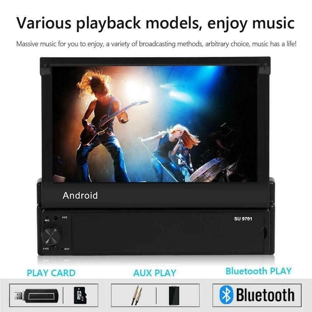 格納式アンドロイド 8.1 カーラジオの Gps Wifi Autoradio 1 Din MP5 7 ''Inch HD のタッチスクリーンマルチメディアプレーヤーサポートカメラ