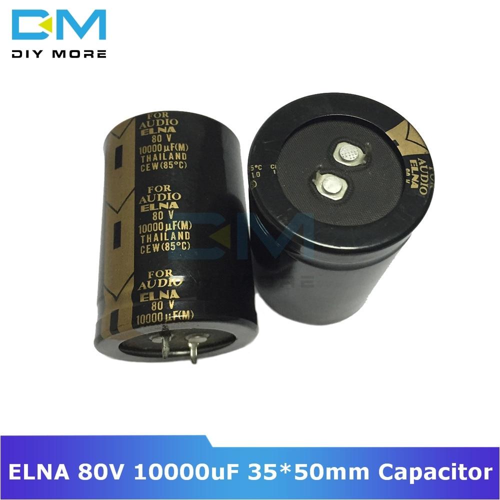 Original ELNA Audio Capacitor 80V 10000uF 35*50mm Aluminum Electrolytic Capacitor Low Impedance Capacitance Size 35x50mm