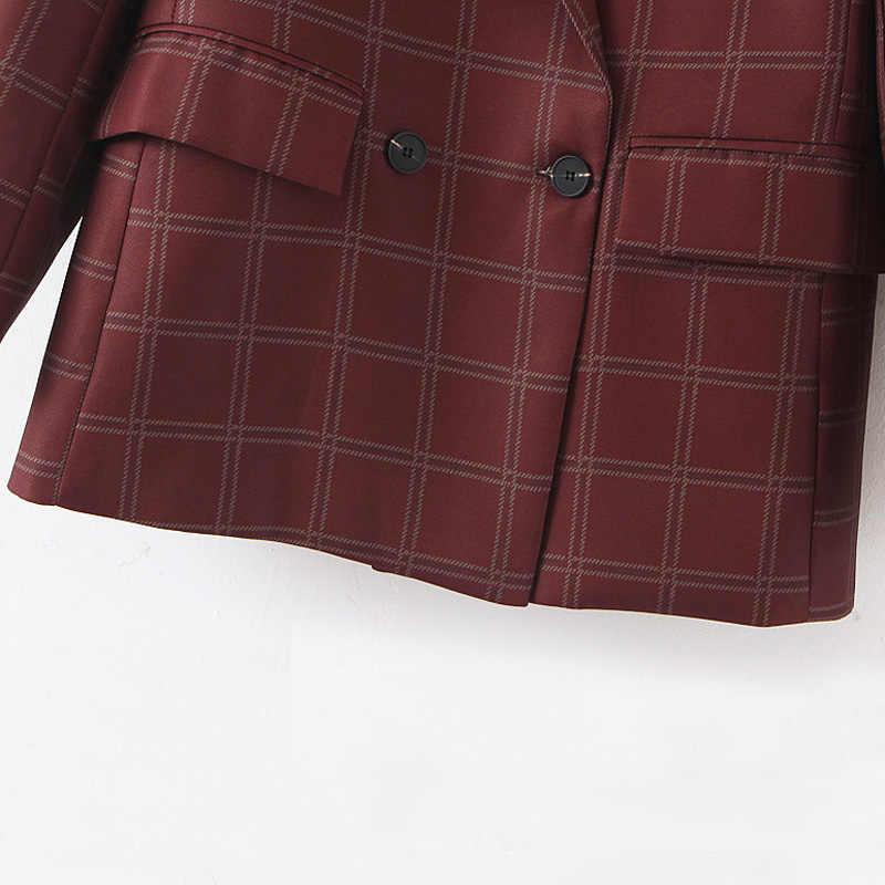 Fandy Lokar doble Breasted abrigos de Mujeres de moda a cuadros estampado chaquetas mujeres elegante bolsillos trajes de manga larga de mujer damas IR