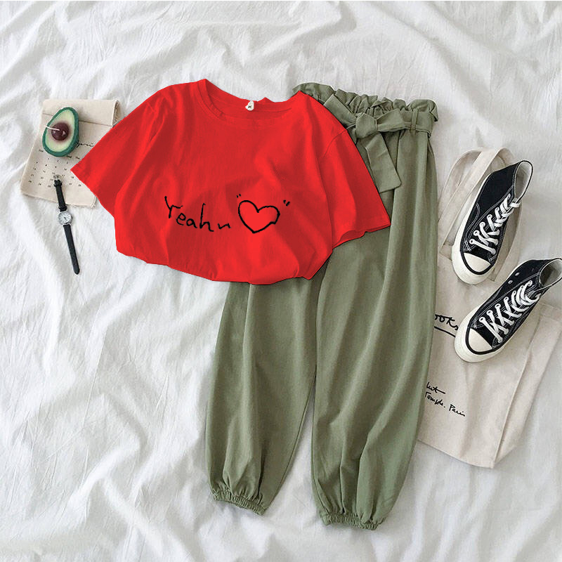 New Letter Printed 2 Piece Outfits Women Casual Trousers Suit Black Pink Female Two Piece Set Korean Tshirt And Pants Clothes