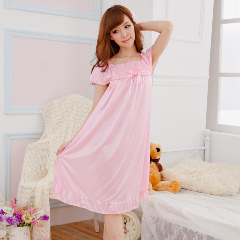 Summer New Style Sexy Women's Lace Tracksuit Short Sleeve Viscose Long Nightgown Thin Pajamas Women's