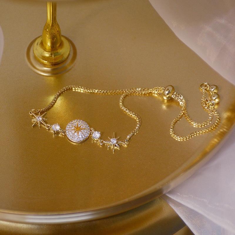 14K Real Gold Luxury Delicate Bracelet for Women AAA Micro Inlaid Zirconia Romantic Bracelets Jewelry Christmas Birthday Gift