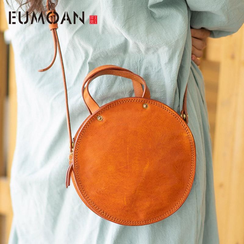 EUMOAN ручная кожаная маленькая круглая сумка, Ретро Милая художественная круглая коробка в форме сумки на плечо