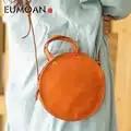 EUMOAN Mão inclinado saco de couro redondo pequeno, bonito retro literária caixa redonda em forma de bolsa de ombro