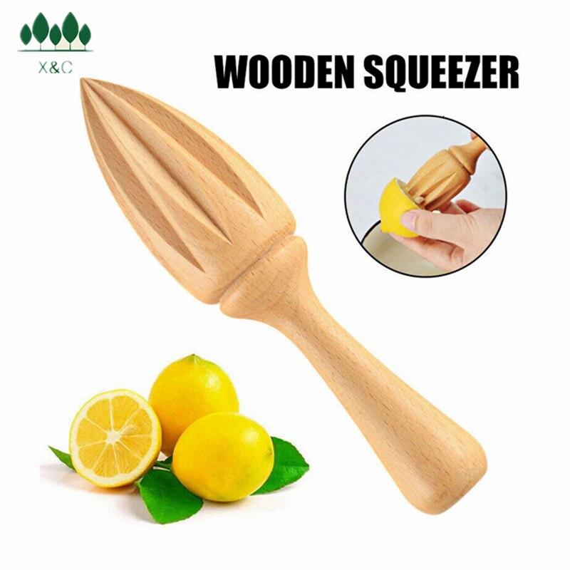 XinChen Wooden Lemon Squeezer Hand Press Manual Juicer Fruit Orange Citrus Spice Extractor Reamers Ten-corner Design