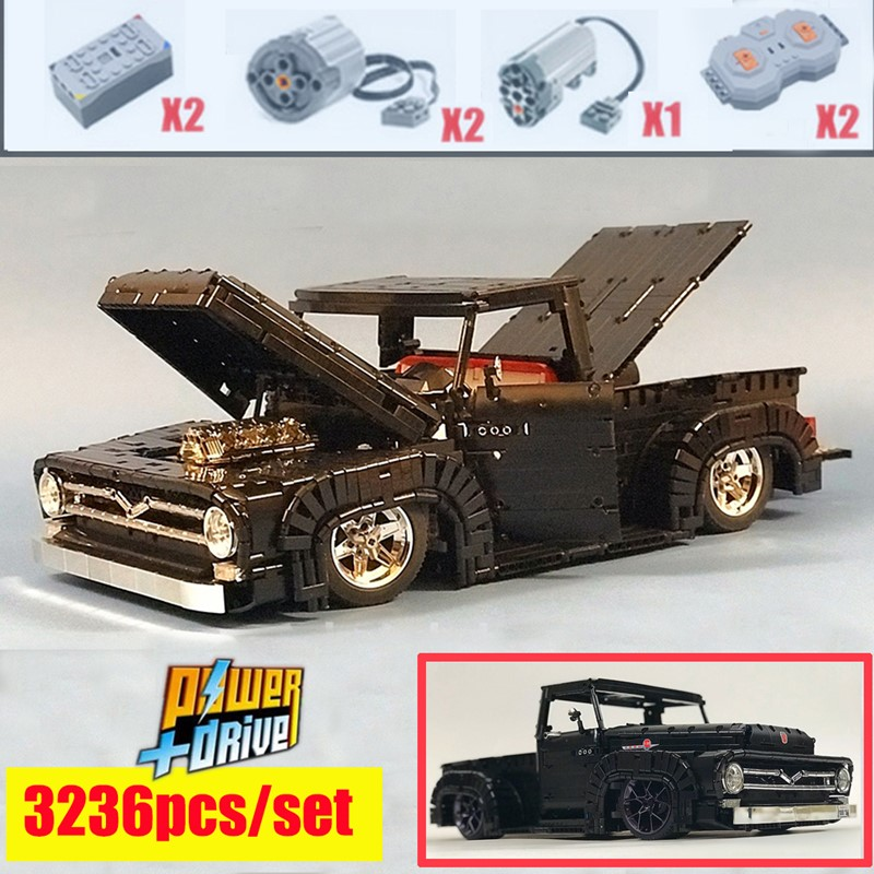 New Ford F100 Mustang Technic MOTOR POWER FUNCTIONS Fit LeGINGlys MOC-37562 Technic Model Building Blocks Bricks Toy Kid Gift
