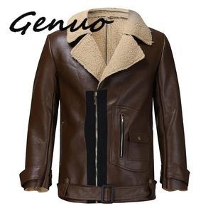 Image 3 - Genuo 男性の冬の革模造バイカーオートバイジッパー長袖コートスリムショート男性 Moto シープスキンショートジャケット