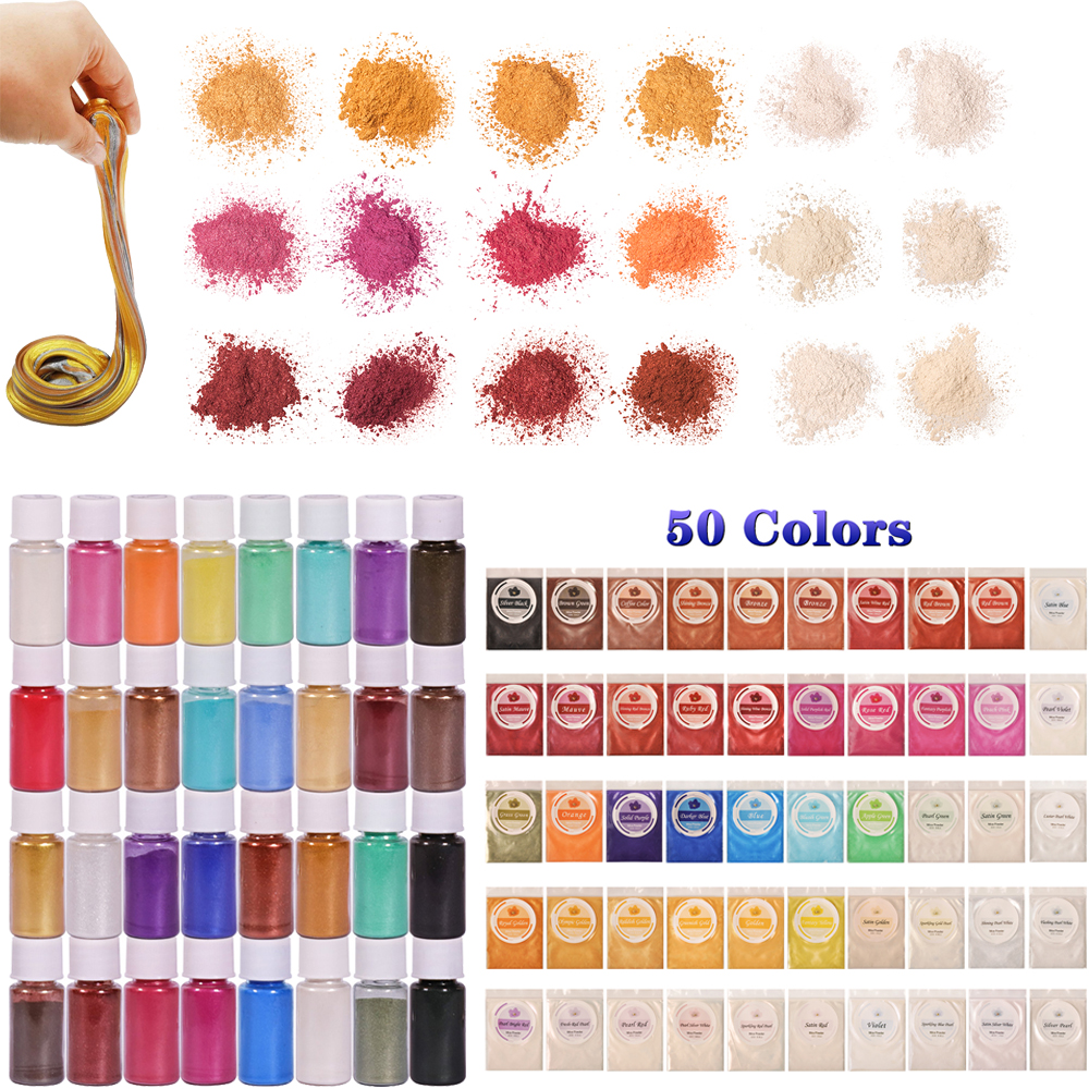 SEISSSO 50 Colors Mica Powder Pigment Pure Pearl Epoxy Resin For Lip Gloss Blush Nail Art Resin Soap Making Craft