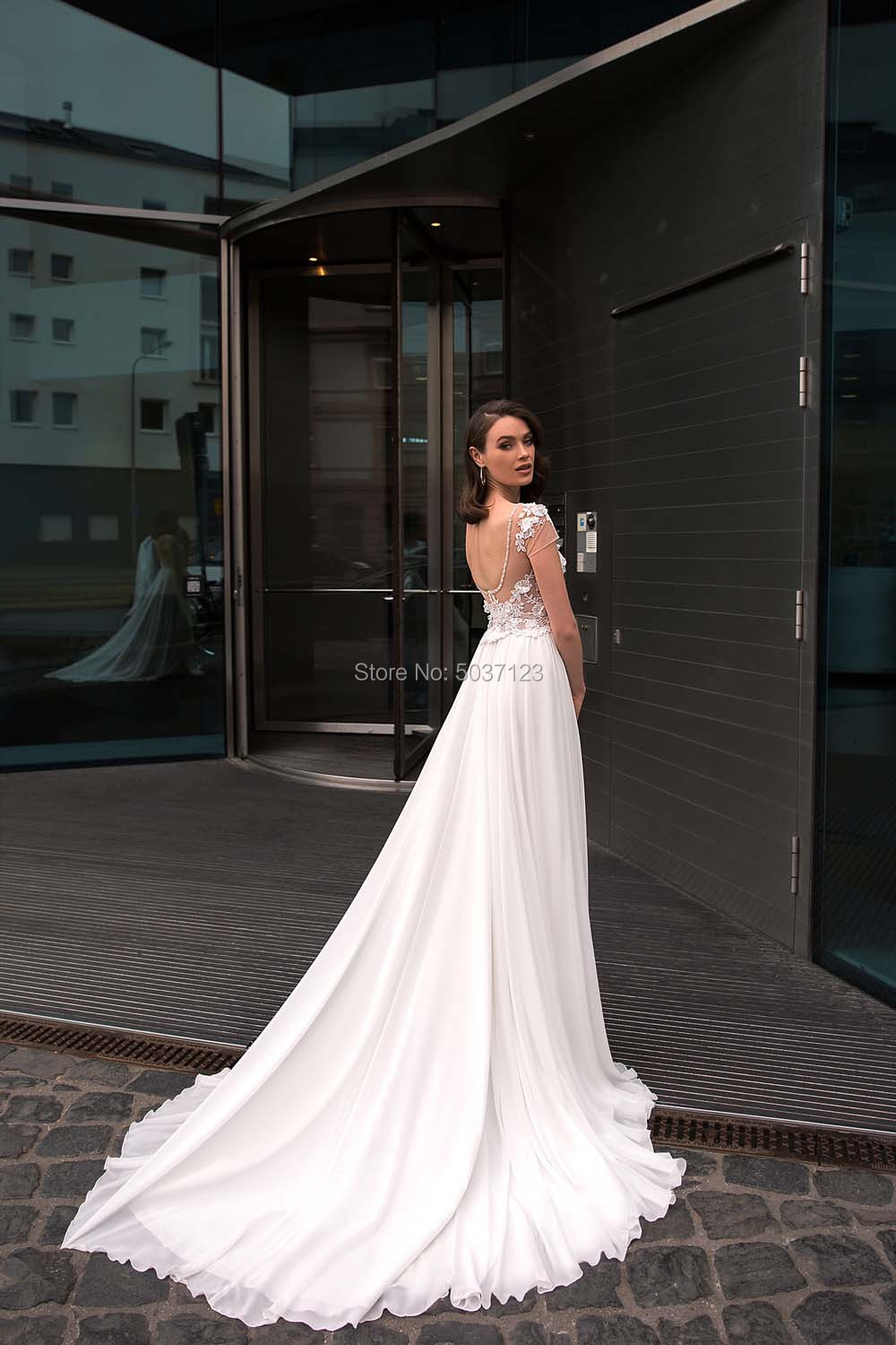 Image 2 - A Line Chiffon Short Sleeves Wedding Dresses Lace Appliques Bridal Gowns Open Back Sweep Train Vestido De Noiva-in Wedding Dresses from Weddings & Events