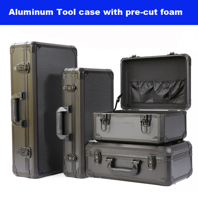Long Aluminum Tool Case Suitcase Toolbox File Box Impact Resistant Safety Case Equipment Camera Case With Pre-cut Foam Lining