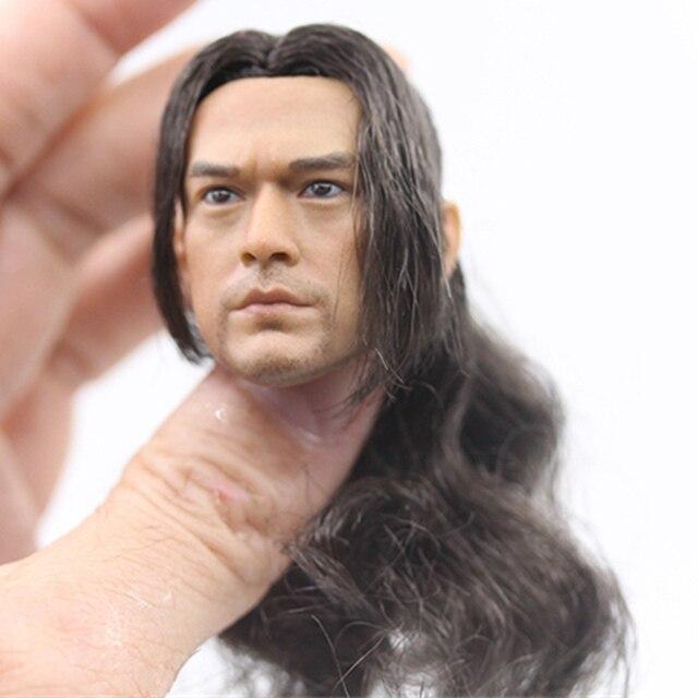 1/6 escala takeshi kaneshiro cabeça esculpir com cabelo onimusha generais antigos para 12 polegadas figura de ação corpo brinquedo boneca