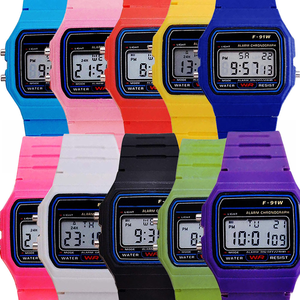 Multi-function Ultra-thin Luminous Alarm LED Kids Watches F91 Sports Electronic Watch Girls Students Clock Square Children Watch