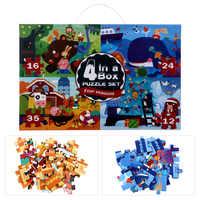 Juego de puzles duraderos y adorables para niños, rompecabezas Cuatro en Uno para regalo