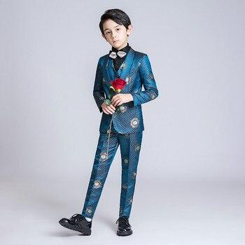 YuanLu 4PCS Kids Suit For Boy Blazer/Pants/Shirt/Tie Formal Suit For Wedding Party Costume Clothes For Children