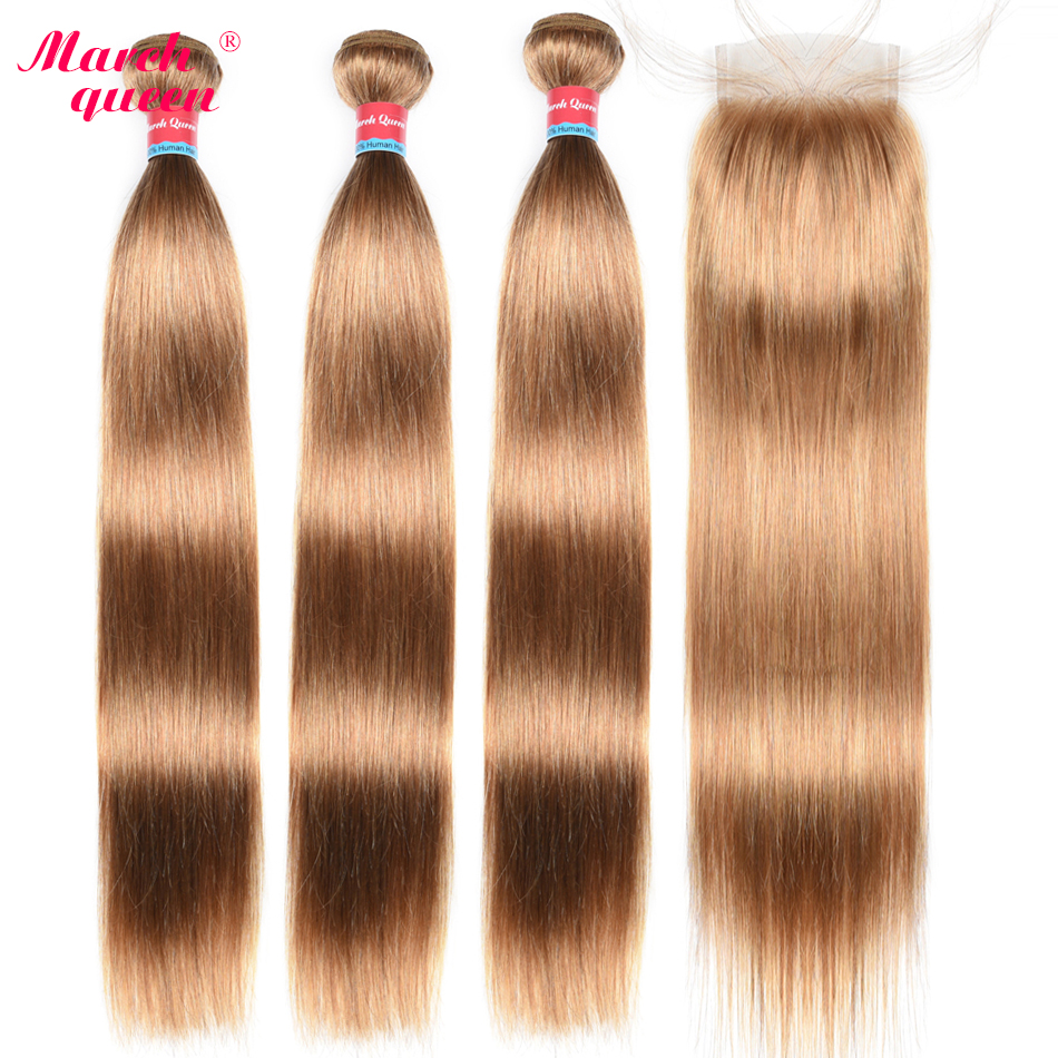 March Queen Malaysian Hair 3 Bundles With 4x4 Lace Closure Straight #27 Honey Blonde Human Hair Weave Double Weft Extensions