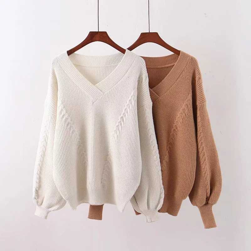 ZA autumn winter women's pullover V-neck solid knitted sweater women Casual knit sweater pull female tops woman clothes