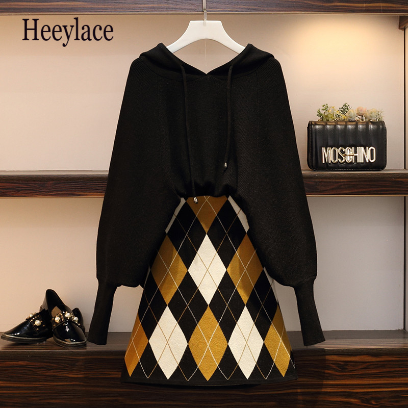 Plus Size Autumn Jumper +Plaid Skirt 2pcs Sets Knitted Long Batwing Sleeve Hooded Sweater + Mini Skirt Set Women Two Piece Sets