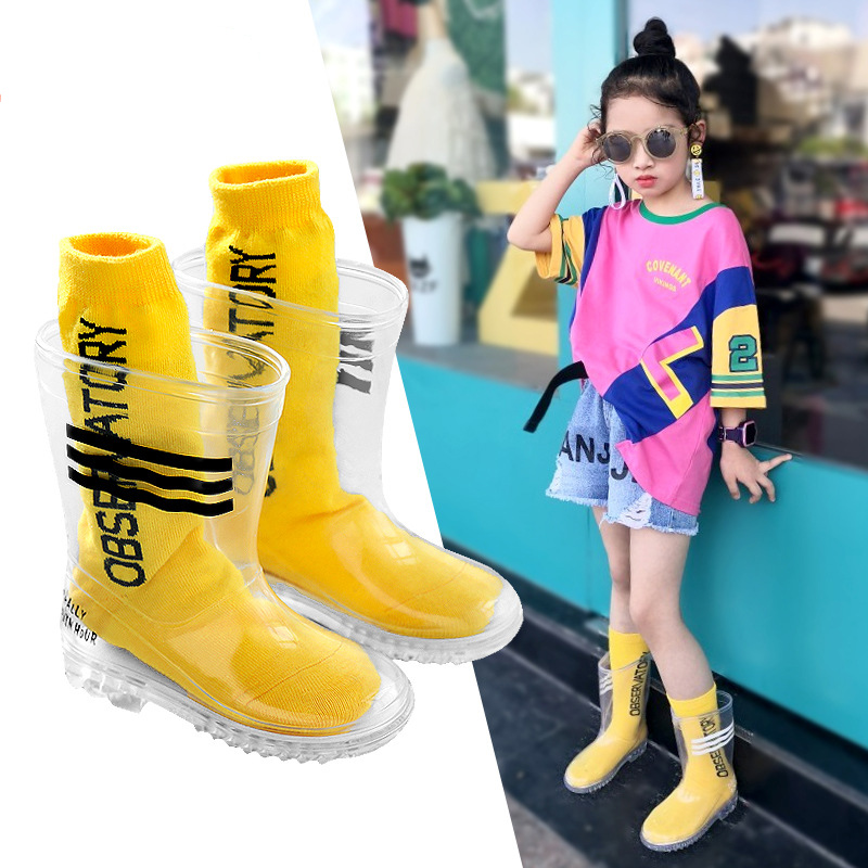 Kids Boys Girls Rain Boots Rubber For Children Transparent Waterproof Students Child Baby Toddler Rain Boots Non-slip With Socks