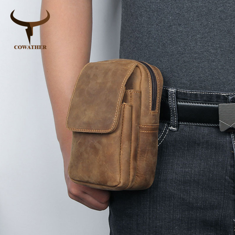 COWATHER Waist Bag For Men Top Quality Cow Genuine Leather Big Capacity Fashion Vintage Design Cowhide Waist Pack Free Shipping