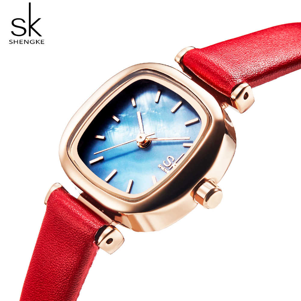 Shengke SK Casual ผู้หญิงนาฬิกาหนังสุภาพสตรีนาฬิกาผู้หญิงนาฬิกาควอตซ์นาฬิกาข้อมือ Relogio Feminino Bayan Kol Saati ของขวัญ