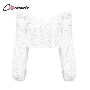 Image 5 - Conmoto biała koronkowa seksowna bluzka Off Shoulder Beach letni krótki Top Hollow Out damska bluzka z haftem Blusa