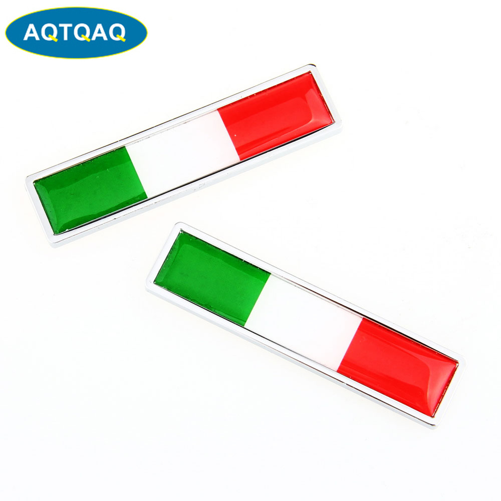 1 Pair Country National Flag Italy Hot Metal Stickers Car Styling Motorcycle Accessories Badge Label Emblem Car Stickers(China)