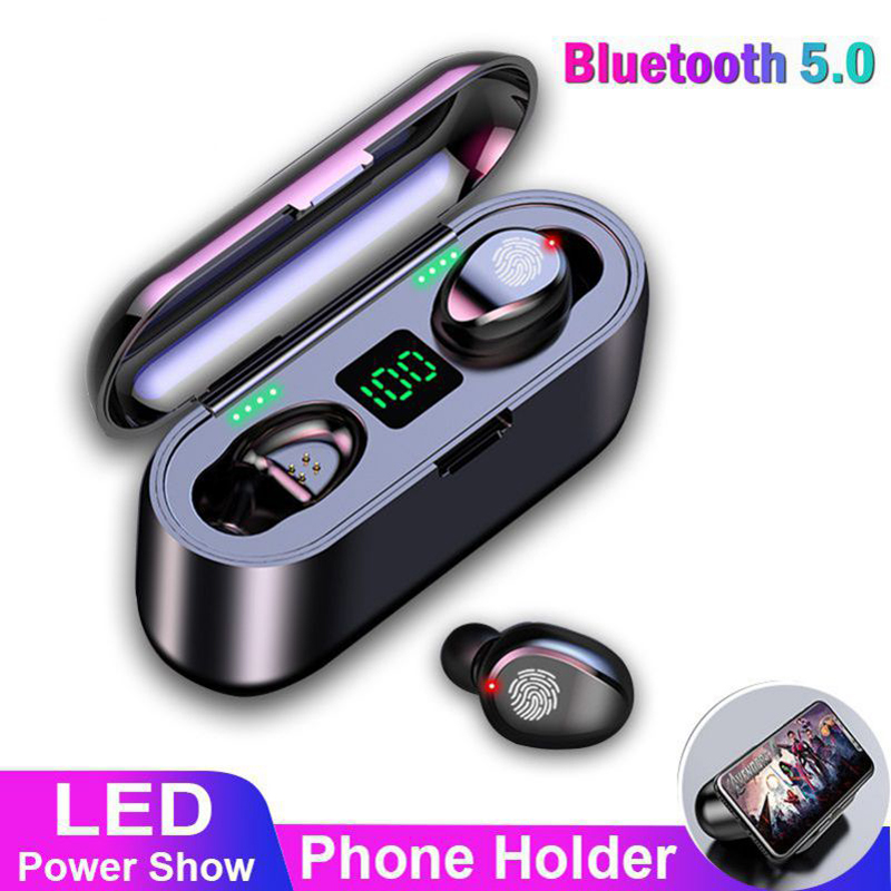 F9 TWS V5.0 Bluetooth Headset Wireless Headphones 8D Stereo with LED For Android Mobile Phone Tablet PC Running Sport