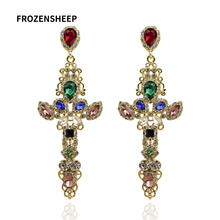 FROZENSHEEP exaggerated long Geometric earrings for women colorful rhinestone cross dangle earrings 2020 Brincos party Jewelry a suit of cute rhinestone geometric earrings for women