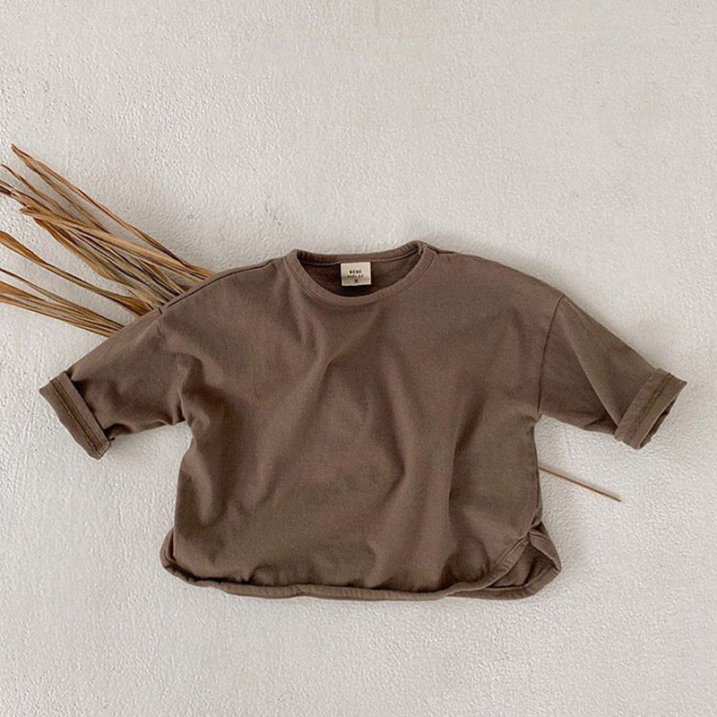 Baby Boys Long Sleeve T Shirts Cotton Girls Long Sleeve T-shirts Casual Shirt Infant Baby Kids Toddler Solid Color Tops 8