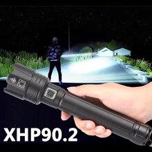 XHP90.2 충전식 강력한 Xhp70 LED 손전등 토치 전술 조명 램프 캠핑 18650 26650 배터리 Zoomable 방수