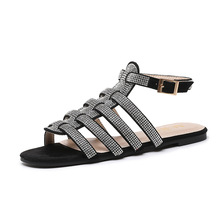BWB Women Rhinestone Vintage Flat Sandals Shoes Bohemian Casual Women Sandals Rome Shoes High Quality Sexy Outside Ladies Shoes bohemian sandals for women wedge shoes crystal decoration grey army green shoes ladies cute casual shoes rhinestone sandals
