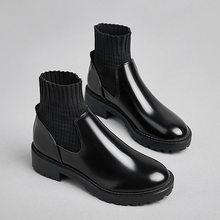 цена 2019 New Ladies Sexy Sock Boots Women Shoes Leather Black Ankle Boots High Quality Fashion Chelsea Boots  zapatos de mujer онлайн в 2017 году