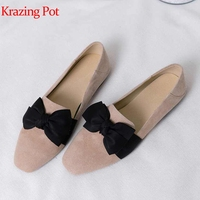 Krazing Pot 2019 sheep suede butterfly knot low heels square toe European daily wear preppy style maiden sunshine gril pumps L67