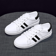 Liren 2019 Summer New PU Fashion Casual Lace-up Women Vulcanize Shoes Comfortable Breathable Round Toe Flat Heels