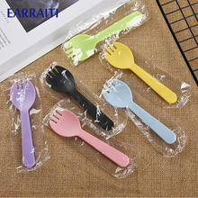 Wholesale 5000PCS Disposable Spork Small Spork Plastic Fork Spoon Dessert Icecream Cake Fast Food Restaurant Party Fork Spoon
