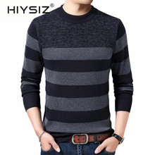HIYSIZ Brand 2019 Autumn Winter Streetwear Pull homme knitted strip mensweater O-neck warm sweaters Men clothes H3022