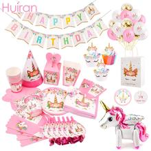 Huiran Unicorn Disposable Tableware Banner Tablecloth Birthday Party Supplies Decorations Baby Shower Deco