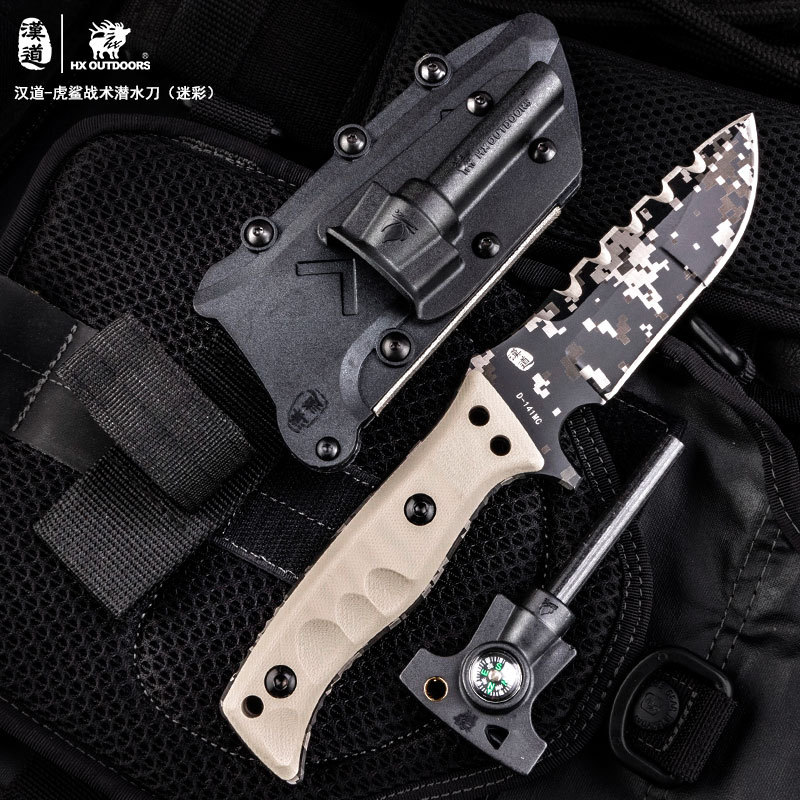 Hx Outdoors Camouflage Tiger Shark Outdoor Special Warfare Knife High Hardness Tactical Open Country Survival Army Knife Straigh