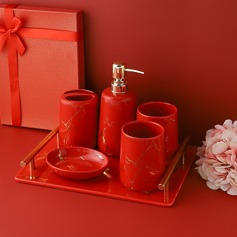 Ceramic red bathroom accessories set washing tools mouthwash cup soap dish toothbrush holder household wedding holiday supplies image