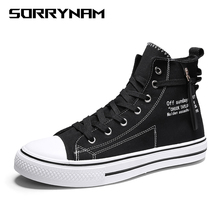 2019 New Arrival Summer Fashion Men Flats Shoes All Black White Casual Shoes Mens Canvas Shoes Lace-Up High Top Shoes Sorrynam 2018 new fashion all black red male casual flats sneakers shoes men lace up walking shoes canvas high top shoes nn 35