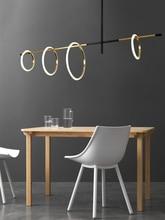 ห้องนั่งเล่นโมเดิร์น LED แม่เหล็กโคมไฟระย้าร้านอาหารจี้อะคริลิคห้องนอน Deco แหวนแขวน